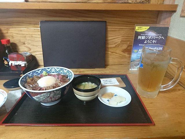 ライダー名物ジョッキお茶と赤牛丼#ツーリング